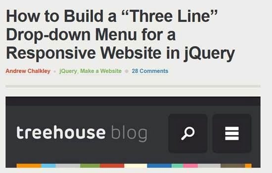 Three line drop-down menu for a responsive website in jquery tutorial