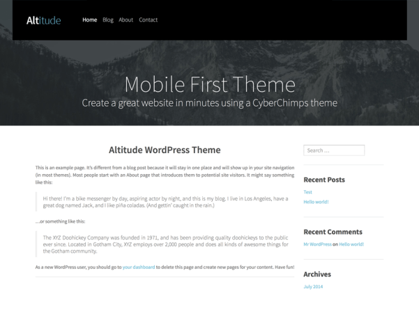 altitude lite free wordpress theme