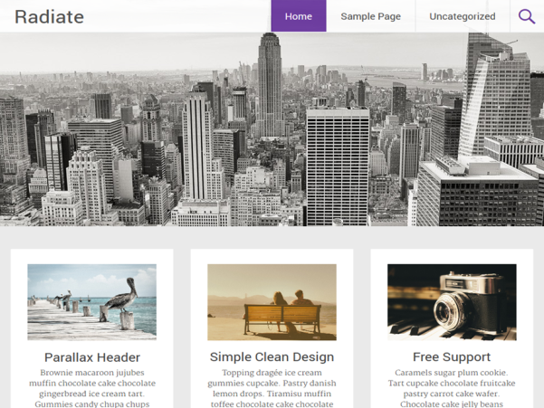 radiate free parallax wordpress theme