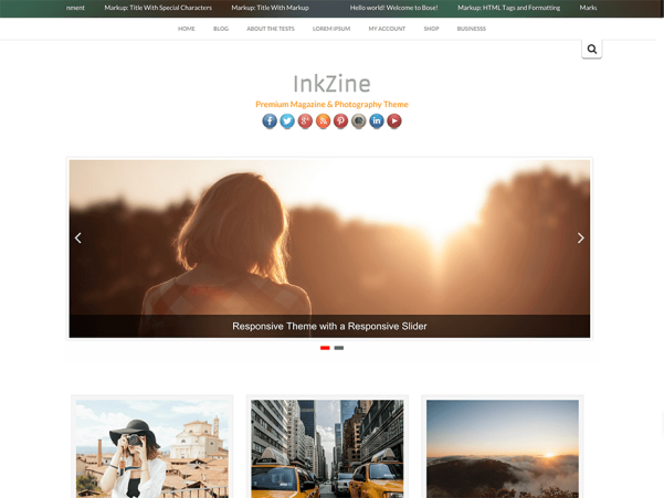 inkzine free parallax wordpress theme