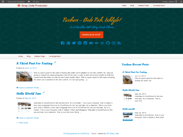 tashan free parallax wordpress theme