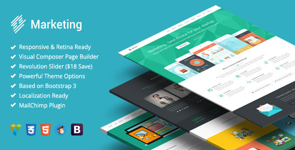 marketing startup landing page bootstrap wp