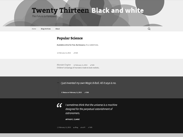free 2013 grayscale landing page wordpress theme