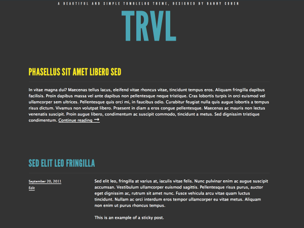 free trvl landing page wordpress theme