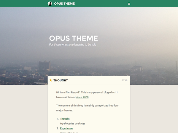 free opus landing page wordpress theme