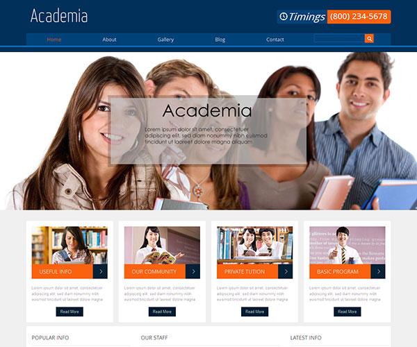 free academia html template screenshot