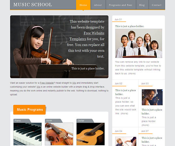 music school screenshot