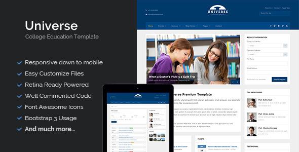 universe education college responsive template screenshot