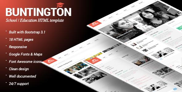 buntington education html template screenshot