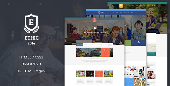 ethic education, event and program template screenshot