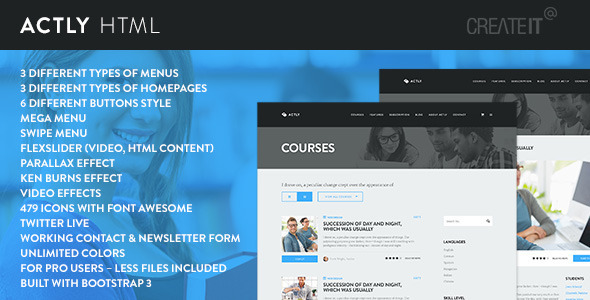 actly educational responsive html template screenshot
