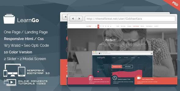 learngo education learning html landing page screenshot
