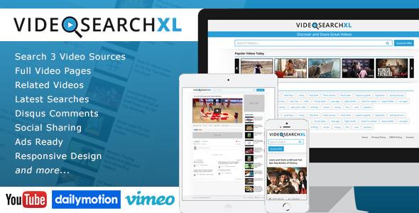 videosearchxl multi source video search engine screenshot