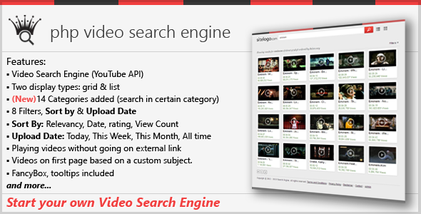 php video search engine screenshot
