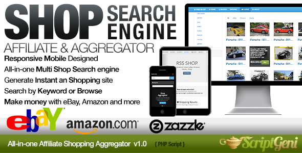instant affiliate shopping search engine screenshot