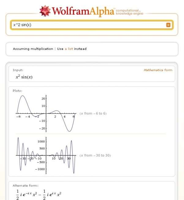 wolfram alpha search engine