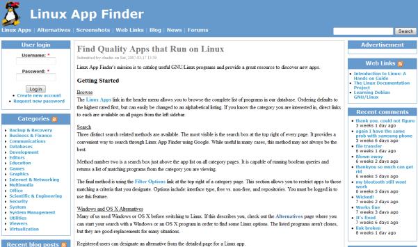linux app finder search engine