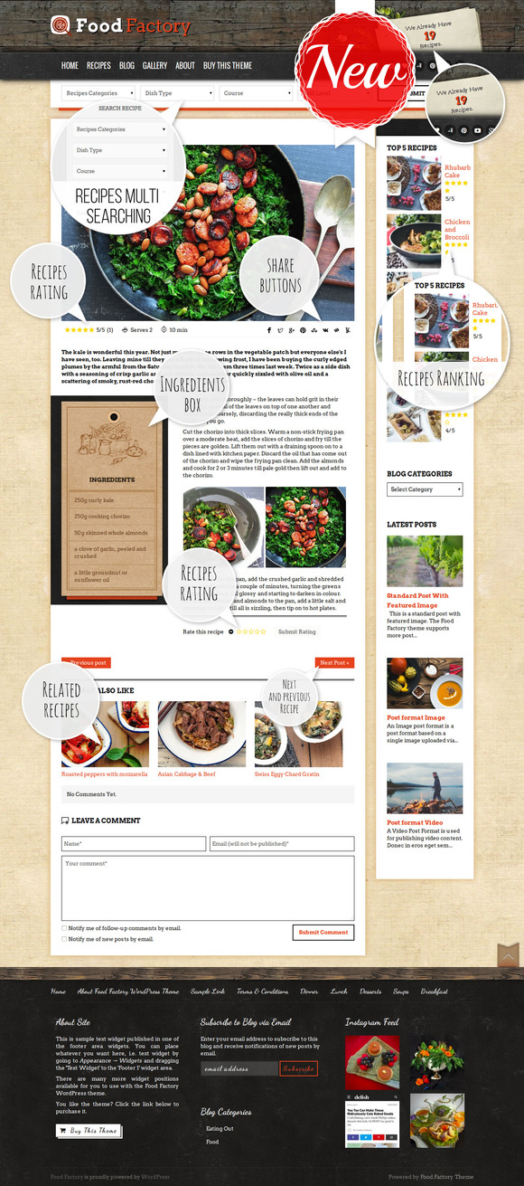 food factory foody recipes theme
