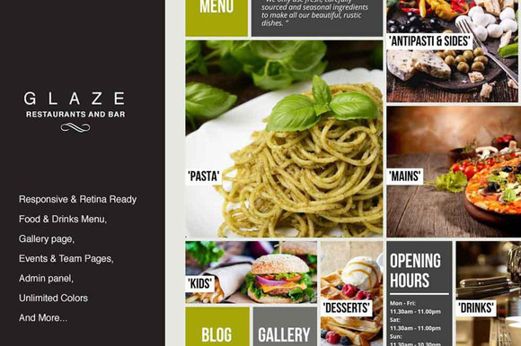 glaze restaurant wordpress theme