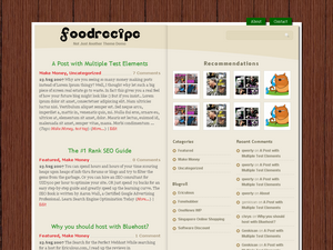 free food recipe weblog wordpress theme
