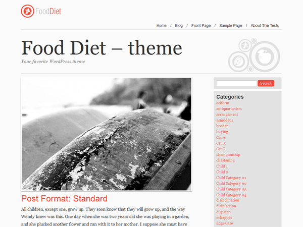 free food and diet magazine wordpress theme