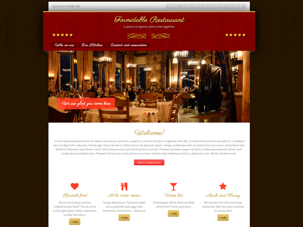 free formidable restaurant html5 wordpress theme