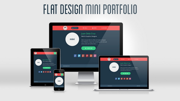 flat design portfolio template screenshot