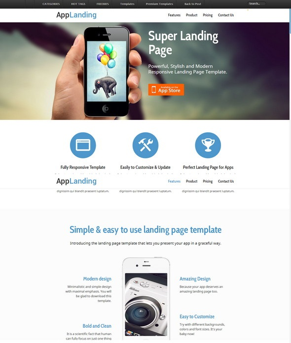 free retina ready responsive app landing page screenshot
