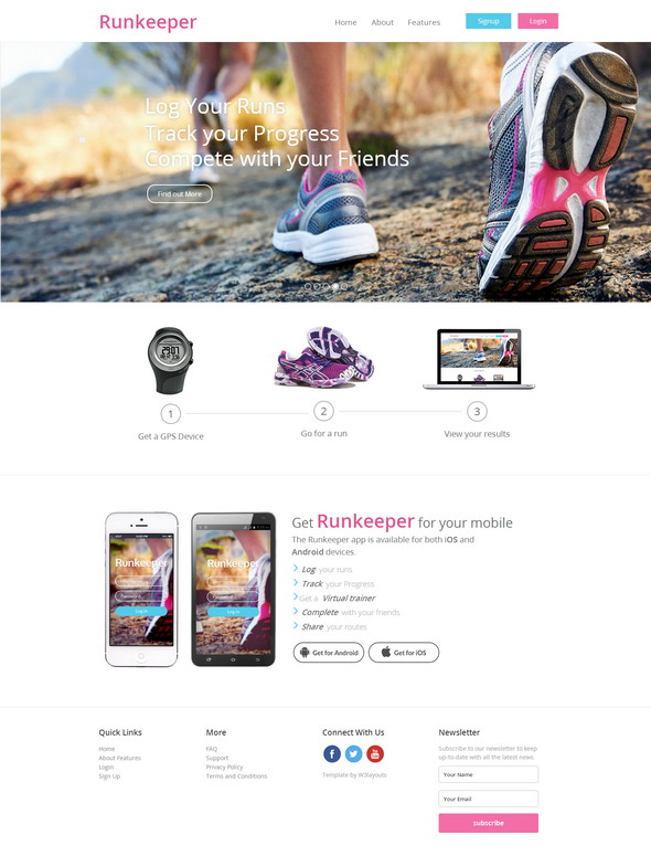 runkeeper a mobile app responsive web template screenshot