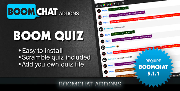 boom quiz addons for boomchat phpajax chat