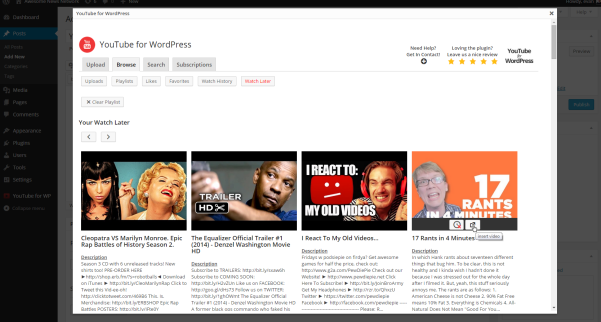 youtube for wordpress plugin