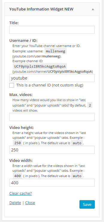 youtube information widget plugin