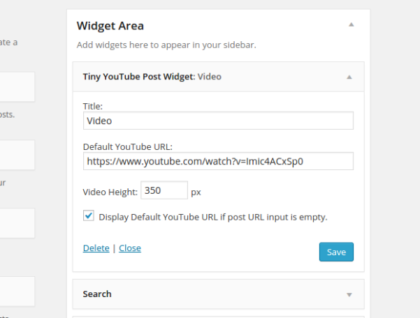 tiny youtube post widget plugin