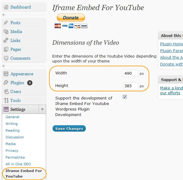 iframe embed for youtube plugin