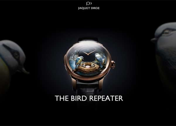 jaquet droz - the bird repeater fullscreen business website design