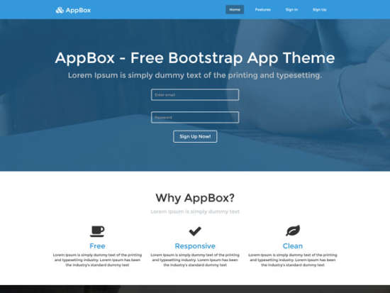 free appbox landing page website template
