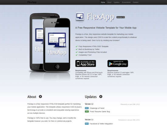 flexapp landing page website template