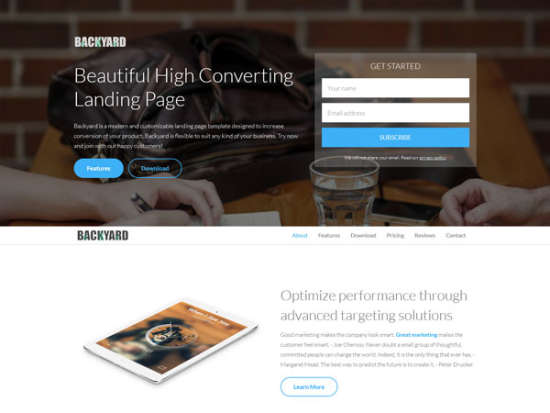 free backyard landing page website template