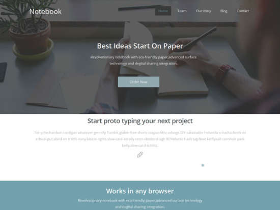 notebook landing page website template