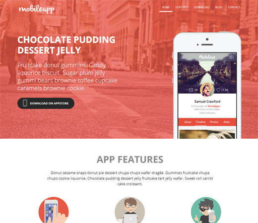 free mobileapp landing page website template