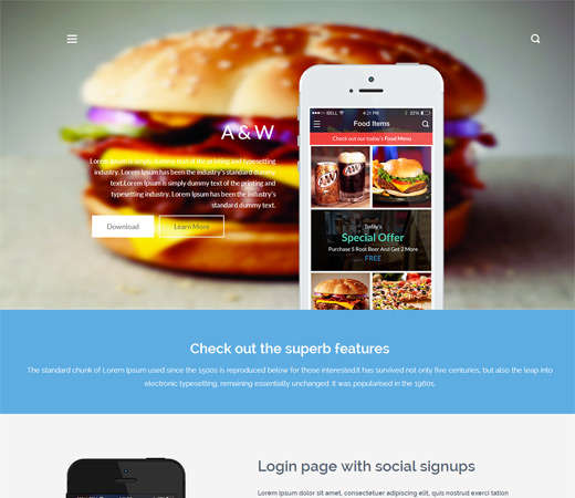 free a&w app landing page bootstrap responsive web template