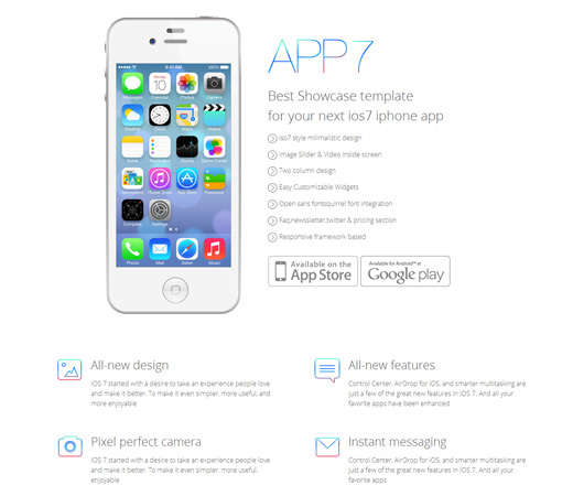 ios7 app landing page website template