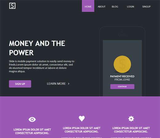 free slide landing page flat responsive web template
