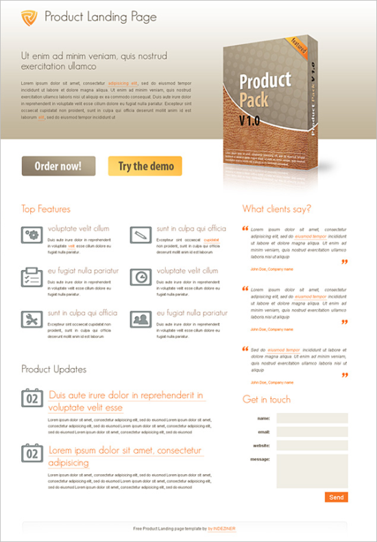free product landing page css template