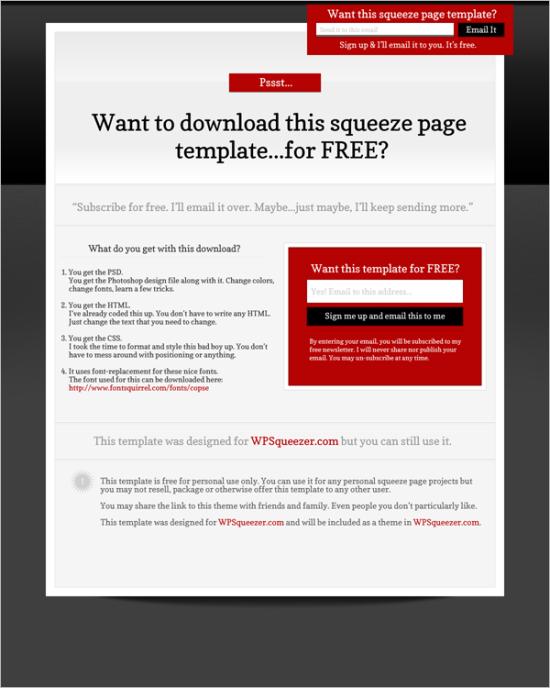free black tie landing page template