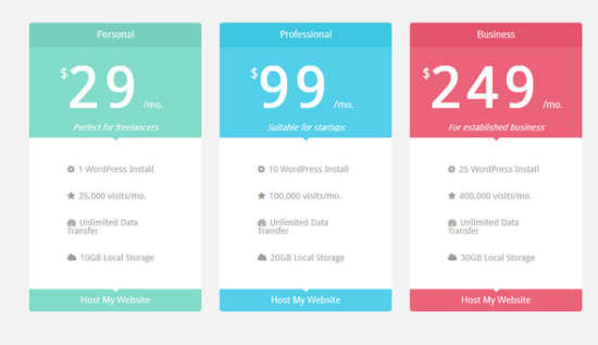 20 free html css pricing table templates ginva for Cool table css