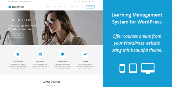 educator wp management that is learning theme