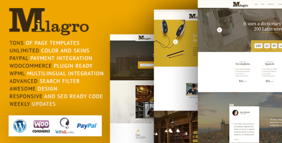 milagro learning and courses wordpress theme