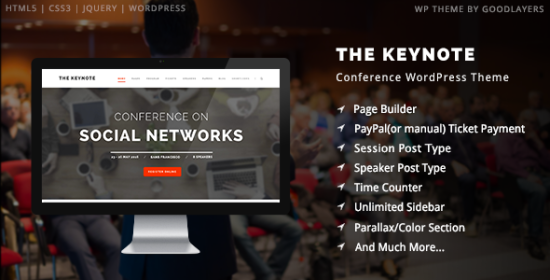 the keynote conference occasion meeting wordpress theme