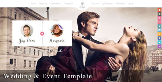 gittys responsive wedding event template